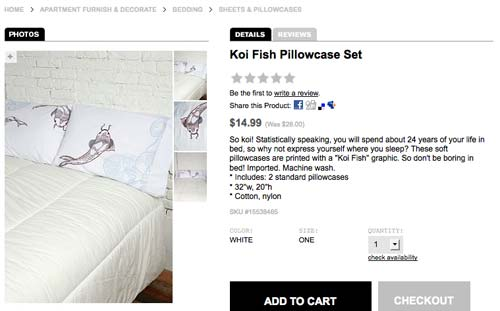 Pillowcases with my koi illustrations on them on sale at Urban Outfitters
